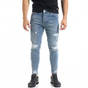 Slim fit мъжки сини дънки с прокъсвания и кръпки  2