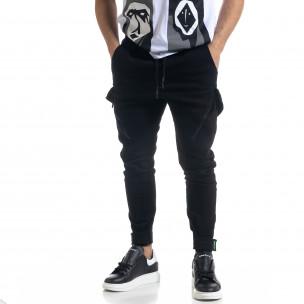 Мъжки черен панталон със затягащи маншети