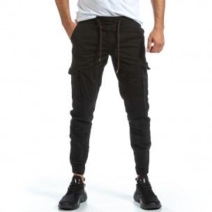 Черен Cargo Jogger панталон с ластик на кръста Blackzi