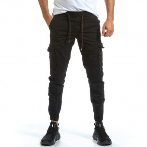 Черен Cargo Jogger панталон с ластик на кръста