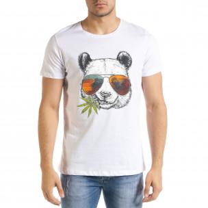 Мъжка тениска Panda Grass в бяло