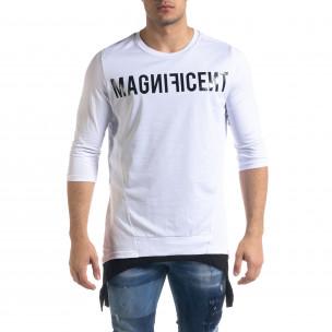 Мъжка бяла тениска с удължени краища