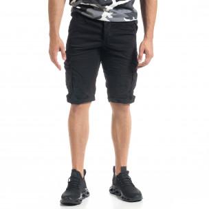Мъжки черни  къси карго панталони  2