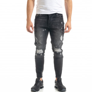 Slim fit мъжки черни дънки Destroyed с кръпки