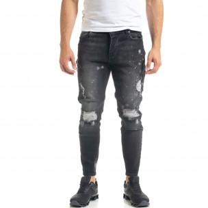 Slim fit мъжки черни дънки Destroyed с кръпки  KA7 2