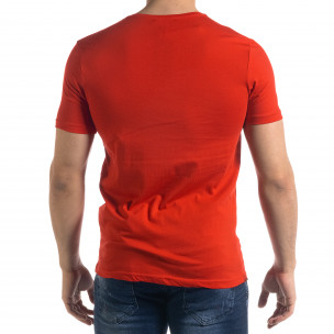 Мъжка червена тениска с принт  2