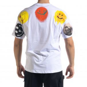 Бяла мъжка тениска Emoticon Oversize  2