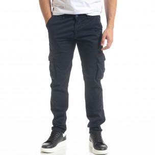Син мъжки панталон Cargo с прави крачоли  2