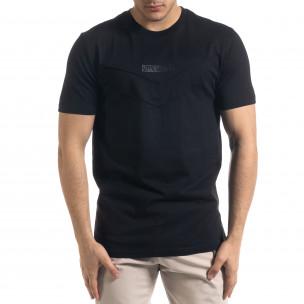 Мъжка черна тенска V-образна платка