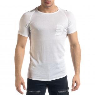 Slim fit бяла мъжка плетена блуза Biker