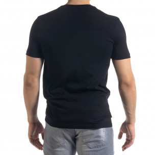 Черна мъжка тениска с джоб  2