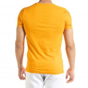 Мъжка оранжева тениска с принт Splash  2