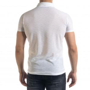 Slim fit бяла мъжка тениска с яка и цип  2