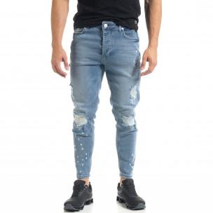 Slim fit мъжки сини дънки Destroyed с кръпки