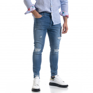 Мъжки сини дънки Slim fit с прокъсвания