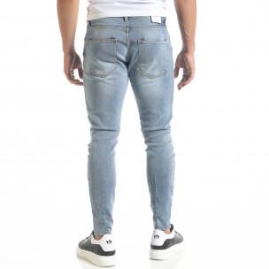 Мъжки сини дънки Skinny fit с прокъсвания  2