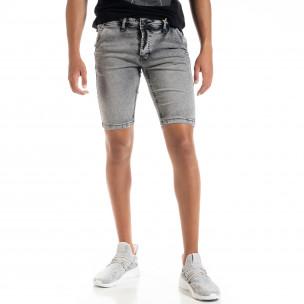Slim fit мъжки сиви къси дънки
