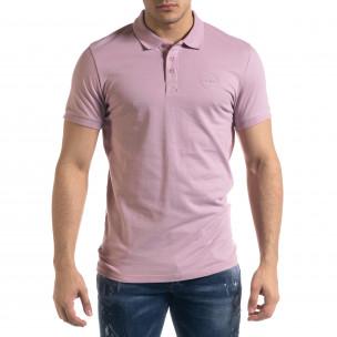 Basic мъжка розова тениска Polo shirt