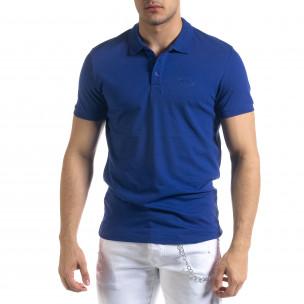 Basic мъжка синя тениска Polo shirt