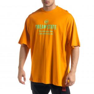 Super Oversize мъжка тениска в оранжево