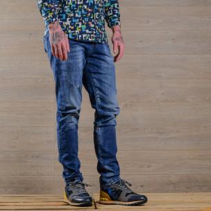 Slim fit мъжки изтъркани дънки в синьо