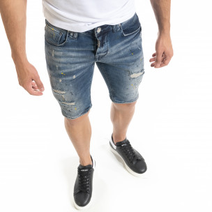 Destroyed Slim fit мъжки къси дънки с пръски боя