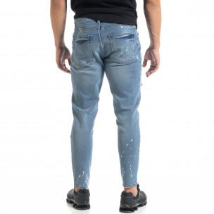 Slim fit мъжки сини дънки Destroyed с кръпки   2