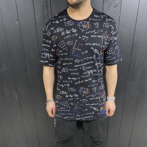 Мъжка черна тениска принт Maths