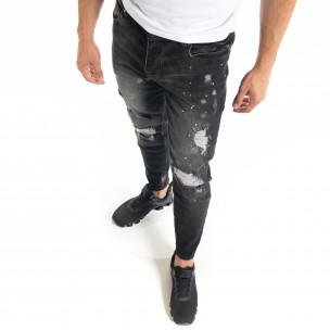 Slim fit мъжки черни дънки Destroyed с кръпки   2