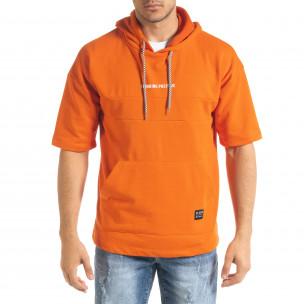 Мъжки суичър с къси ръкави в оранжево 2