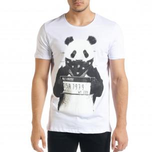 Мъжка тениска Panda Criminal в бяло
