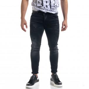 Мъжки черни дънки Slim fit с пръски боя