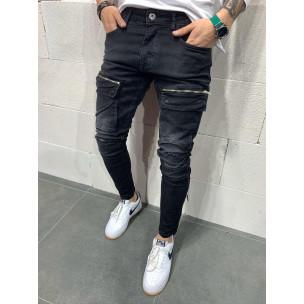 Destroyed Slim fit мъжки черни дънки с джобове