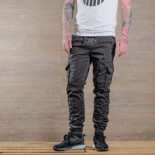 Мъжки сив карго панталон с връзки на кръста