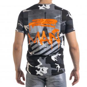 Мъжка камуфлажна тениска с прозрачен джоб  2