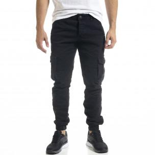 Мъжки черен карго панталон с ластик на крачолите