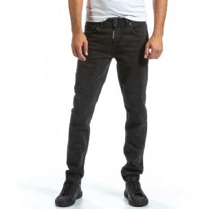Basic Long Slim черни дънки плътен деним