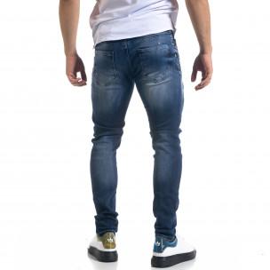 Мъжки сини дънки Slim fit с избелен ефект  2