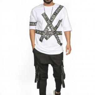 Мъжка бяла тениска с удължени ръкави