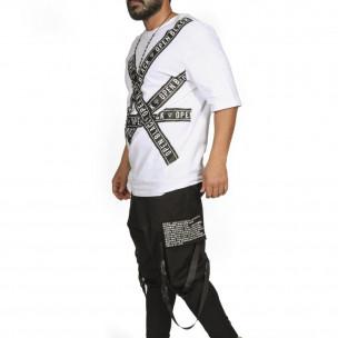 Мъжка бяла тениска с удължени ръкави  2