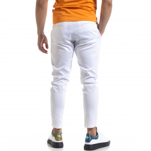 Мъжки бял панталон с ластик на кръста  2