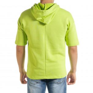 Мъжки суичър с къси ръкави неоново зелено 2