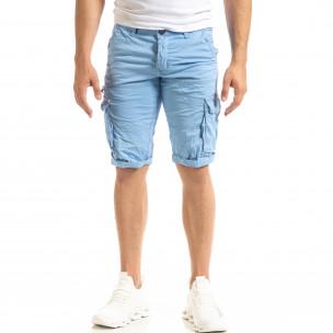 Мъжки сини къси карго панталони  2