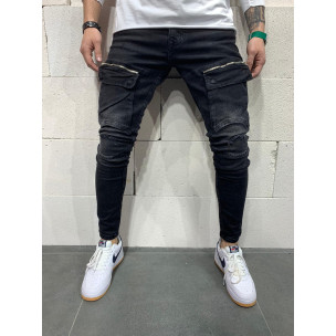 Destroyed Slim fit мъжки черни дънки с джобове  2