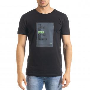 Мъжка черна тениска с принт Easier