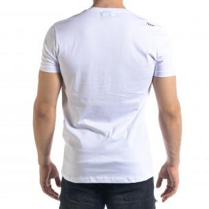 Бяла мъжка тениска гумирани печати  2