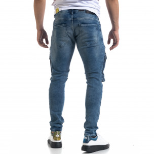 Slim fit мъжки сини дънки с джобове 2
