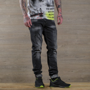 Washed Slim fit мъжки черни дънки  2