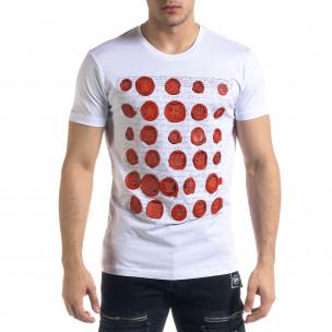 Бяла мъжка тениска гумирани печати