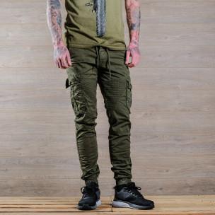 Зелен мъжки Cargo Jogger в рокерски стил
